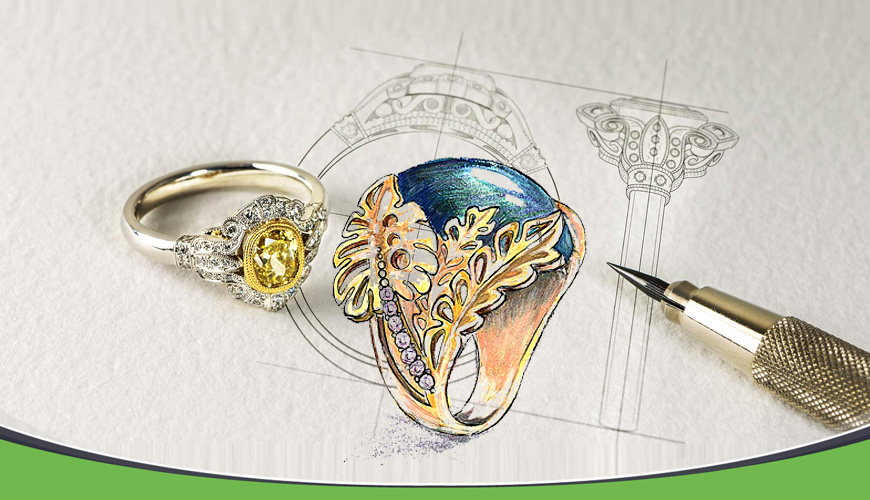 طراحی دستی طلا و جواهرات پیشرفته