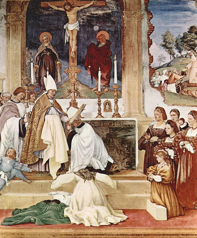 نقاشی از مراسم مذهبی در کلیسا در قرون وسطا