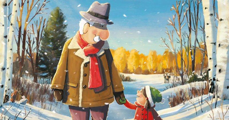 عکس کارتونی پیرمرد با دختربچه